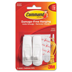 Command - removable adhesive utility hooks, 3-lb capacity, plastic, white, set of 2, sold as 1 pk