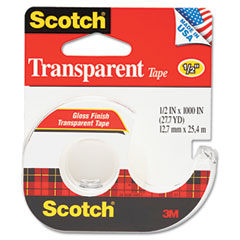 Scotch - transparent glossy tape w/hand dispenser, 1/2-inch x 1000-inch, clear, sold as 1 rl