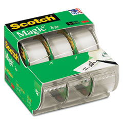 Scotch - magic office tape, refillable dispenser, 3/4-inch x 300-inch, 3/box, sold as 1 pk