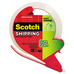 Scotch - sure start packaging tape w/dispenser, 1.88-inch x 38.2 yards, 1.88-inch core, clear, sold as 1 rl