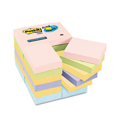 Post-it notes - pastel notes value pack, 1 1/2 x 2, assorted, 24 100-sheet pads/pack, sold as 1 pk
