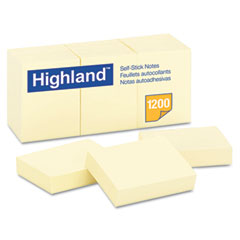 Highland - self-stick pads, 1-1/2 x 2, yellow, 100 sheets/pad, 12 pads/pack, sold as 1 pk
