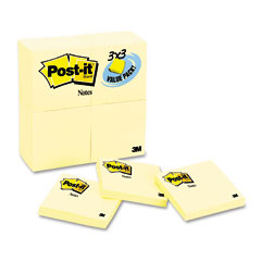 Post-it notes - original notes, 3 x 3, canary yellow, 24 90-sheet pads/pack, sold as 1 pk