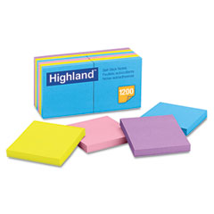 Highland - sticky note pads, 3 x 3, assorted, 100 sheets, sold as 1 pk