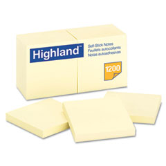 Highland - self-stick pads, 3 x 3, yellow, 100 sheets/pad, 12 pads/pack, sold as 1 pk