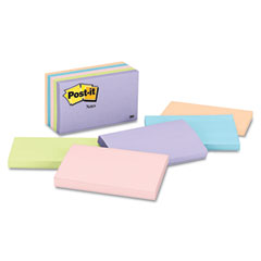 Post-it notes - original pads in pastel colors, 3 x 5, five pastel colors, 5 100-sheet pads/pack, sold as 1 pk