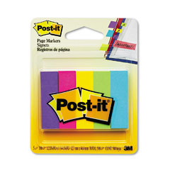 Post-it page markers - page markers, five assorted ultra colors, 5 pads of 100 strips/pack, sold as 1 pk