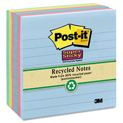 Post-it notes super sticky - super sticky notes, 4 x 4, lined, 5 tropic breeze colors, 6 90-sheet pads/pack, sold as 1 pk