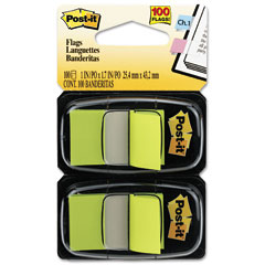 Post-it flags - standard tape flags in dispenser, bright green, 100 flags/dispenser, sold as 1 pk