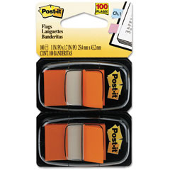 Post-it flags - standard tape flags in dispenser, orange, 100 flags/dispenser, sold as 1 pk