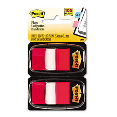 Post-it flags - marking flags in dispensers, red, 50 flags/dispenser, 12 dispensers/pack, sold as 1 bx