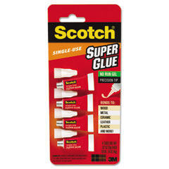 Scotch - scotch single use super glue, 1/2 gram tube, no-run gel, 4/pk, sold as 1 pk