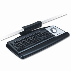 3m - tool-free install keyboard tray, 25-1/2 x 11-1/2, black, sold as 1 ea