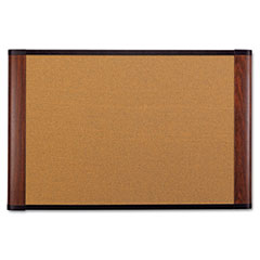 3m - cork bulletin board, 72 x 48, mahogany frame, sold as 1 ea