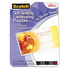 Scotch - self-sealing laminating pouches, 9.5 mil, 2-7/16 x 3-7/8, business card size, 25, sold as 1 pk