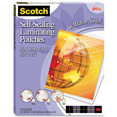 Scotch - self-sealing laminating sheets, 9.5 mil, 8-1/2 x 11, 25/pack, sold as 1 pk