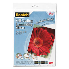 Scotch - self-sealing laminating sheets, 6.0 mil, 8-1/2 x 11, 10/pack, sold as 1 pk