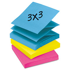 Post-it pop-up notes - pop-up note refills, 3 x 3, five ultra colors, 12 100-sheet pads/pack, sold as 1 pk