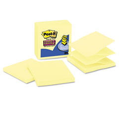 Post-it notes super sticky - super sticky pop-up refills, 4 x 4, canary yellow, lined, 5 90-sheet pads/pack, sold as 1 pk