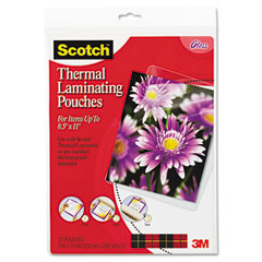 Scotch - letter size thermal laminating pouches, 3 mil, 11 1/2 x 9, 20/pack, sold as 1 pk