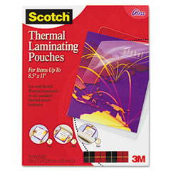 Scotch - letter size thermal laminating pouches, 3 mil, 11 1/2 x 9, 50/pack, sold as 1 pk