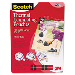 Scotch - photo size thermal laminating pouches, 5 mil, 7 1/4 x 5 3/8, 20/pack, sold as 1 pk