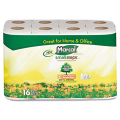 Marcal small steps - 100% premium recycled 2-ply toilet tissue, 16 rolls per pack, sold as 1 pk