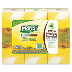 Marcalpro - recycled white facial tissue in fluff-out boutique box, 80/box, 6 boxes/pack, sold as 1 pk
