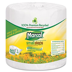 Marcal small steps - 100% premium recycled 1-ply bath tissue, 1000 sheets/roll, 40 rolls/carton, sold as 1 ct