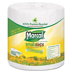 Marcal small steps - 1005 premium recycled two-ply bath tissue, 504 sheets/roll, 80 rolls/carton, sold as 1 ct