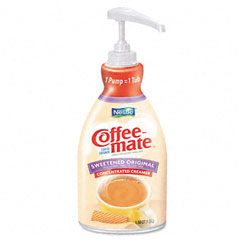 Coffee-mate - liquid coffee creamer, pump dispenser, sweetened original, 1.5 liter, sold as 1 ea