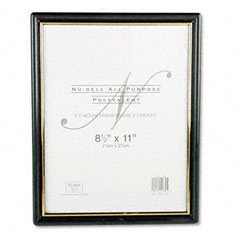 Nu-Dell 11880 Ez Mount Document Frame, Plastic, 8-1/2 X 11, Black