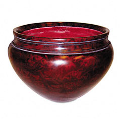 "Nu-Dell T4061 Fiberglass Floor Pot For Artifical Trees, 16"" Diameter, Mahogany"
