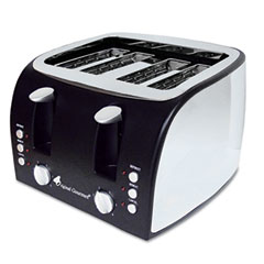 Coffee pro - 4-slice multi-function toaster with adjustable slot width, black/stainless steel, sold as 1 ea