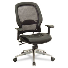 Office Star OSP33547P918P Air Grid Series Professional High-Back Chair, Leather Upholstery, Black/Chrome