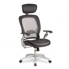 Office Star OSP36806 Light Air Grid Executive Chair w/Headrest, Leather Upholstery, Black/Platinum