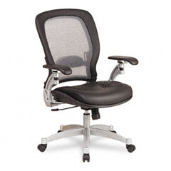 Office Star OSP3680 Light Air Grid Executive Chair, Leather Upholstery, Black/Platinum