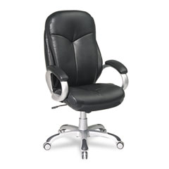 Office Star OSPECH66306EC3 Eco Leather High-Back Swivel/Tilt Chair, Black/Silver