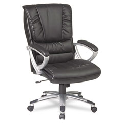 Office Star OSPECH67106EC3 Eco Leather High-Back Executive Swivel/Tilt Chair, Black/Silver