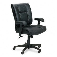Office Star OSPEX93813 93 Series Executive Leather Mid-Back Swivel/Tilt Chair, Black
