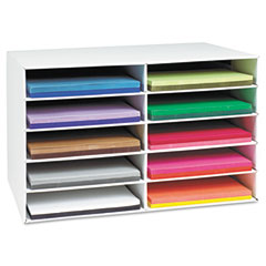 Pacon - classroom construction paper storage, 10 slots, 26 7/8 x 16 7/8 x 18 1/2, sold as 1 ea