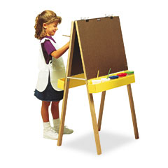 "Pacon 74380 Double-Sided Easel, 46"" High, Pressboard, Natural Wood Finish"