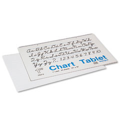 Pacon 74620 Chart Tablets W/Cursive Cover, Ruled, 24 X 16, White, 25 Sheets/Pad