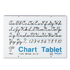 Pacon 74630 Chart Tablets W/Cursive Cover, Ruled, 24 X 16, White, 30 Sheets/Pad