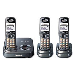 Panasonic PANKXTG9333T DECT 6.0 Expandable Cordless Phone System w/Three Handsets & Digital TAM