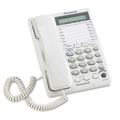 Panasonic PANKXTS208W Speakerphone w/Three-Way Conferencing, Corded, Two Lines, White