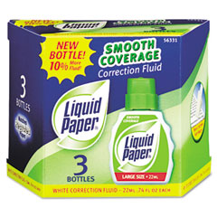 SANFORD Paper Mate Liquid Paper Smooth Coverage Correction Fluid, 22 ml Bottle, White, 3/Pack