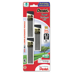 Pentel - super hi-polymer lead refills, 0.5mm, hb, black, 90 leads/pack, sold as 1 pk