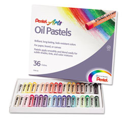 Pentel - oil pastel set with carrying case,36-color set, assorted, 36/set, sold as 1 st