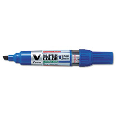 Pilot 43905 V Super Color Begreen Marker, Chisel Tip, Refillable, Blue, Dozen